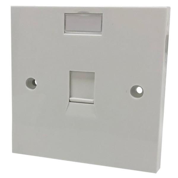Faceplate Flat Single 1 x Shuttered White 86 x 86mm White