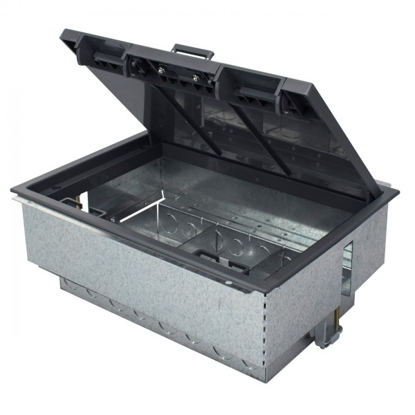 Floor Box 3 Compartment Deep Empty Grey (D) 120mm Floor Cut Out 303mm x 221mm Faceplate Size 89mm x 185mm