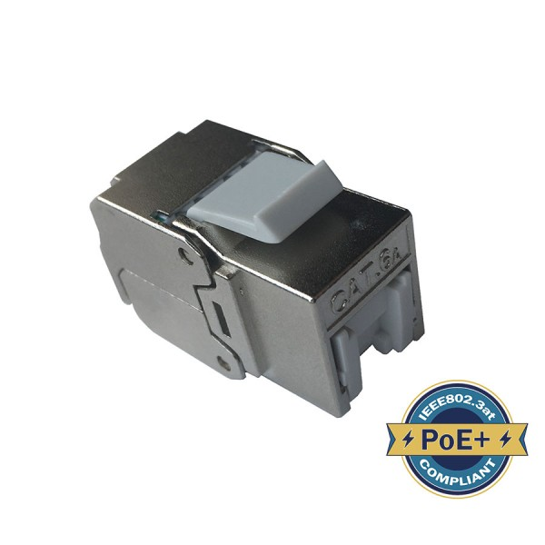 Cat6A Keystone Jack 180 Deg Toolless HD Shielded Silver