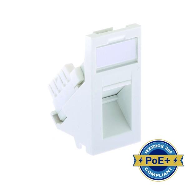 Cat6 PCB Module Low Profile Angled Unshielded Euro White