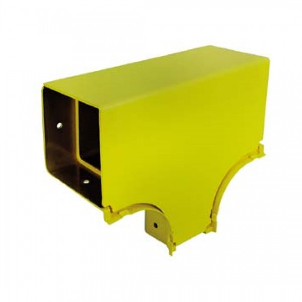 Fibre Ducting Horizontal Tee Reducer 100mm to 50mm Plastic LSZH c/w Lid Yellow