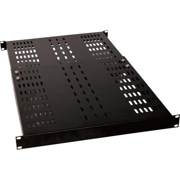 Adjustable Depth Shelf Vented Up to 100kg Black (H) 1U x (W) 19″ x (D) 450mm Adjustable range 450mm to 760mm