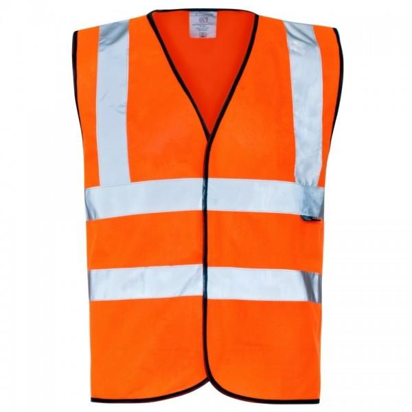 Hi-Viz Waistcoat Black Binding Velcro Large 108-112cm Orange