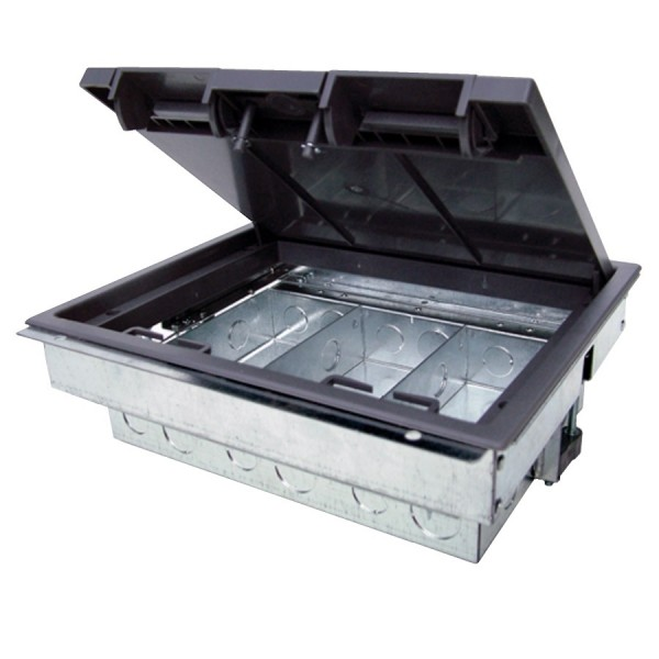 Floor Box 3 Compartment Standard Depth Empty Grey (D) 80mm Floor Cut Out 266mm x 212mm Faceplate Size 76mm x 185mm