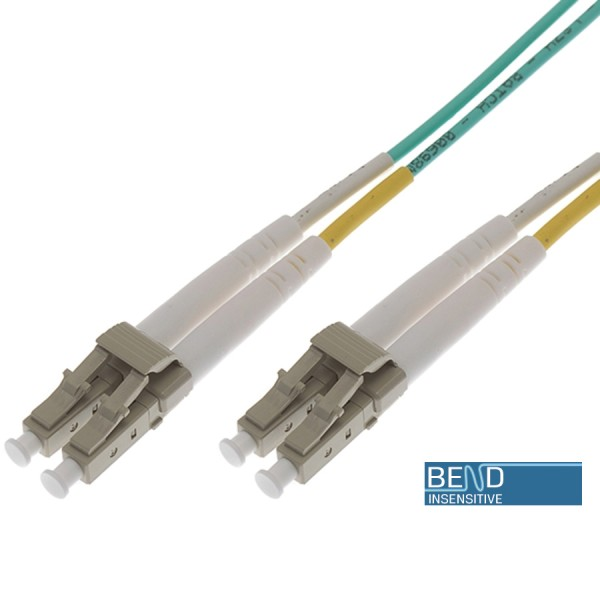 Fibre Patch Lead Duplex MM LC-LC OM3 LSZH 0.5 Metre