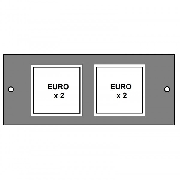 Floor Box Faceplate 4x Euro (2+2) (For 3 Way Compact) Grey (H) 76mm x (L) 185mm