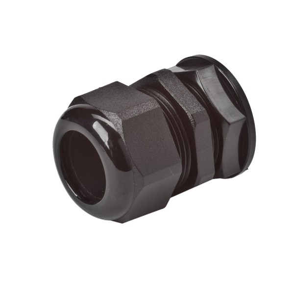 Sealed Cable Gland & Locknut M25 Nylon IP68 Black Clearance Hole 25mm Cable Dia 13mm-18mm Gland Length 32mm-41mm