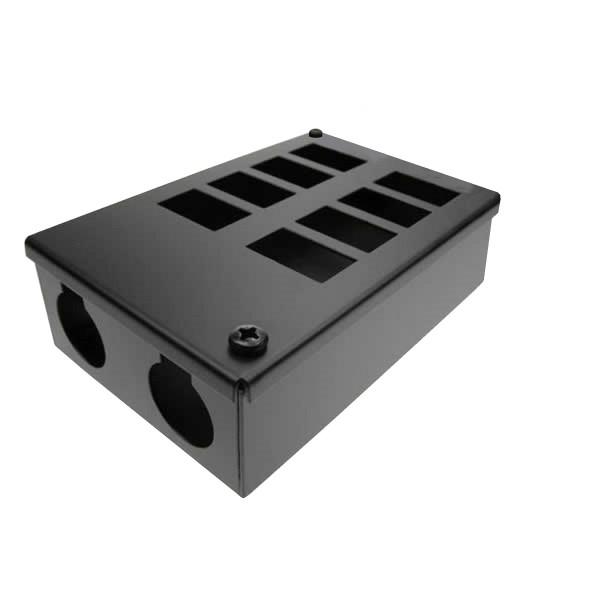 LJ6C Pod Box Horizontal 8 Port 2×4 Black (W) 100mm x (D) 55mm x (L) 250mm Entry Gland 2 x 32mm