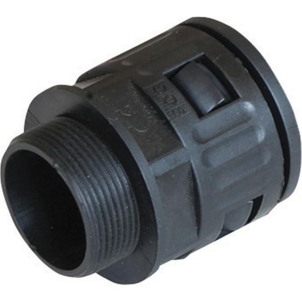 Locknut & Gland Quick Fit Adapter Black (Dia) 25mm Metric Thread M25