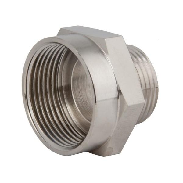 Metric Thread Adaptor M20 Male M25 Female Nickel Plated Brass