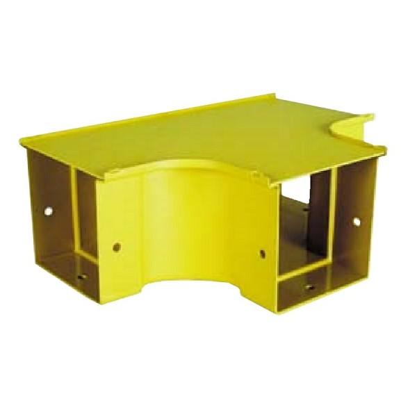Fibre Ducting Horizontal Tee Plastic LSZH Yellow (H) 100mm x (W) 100mm
