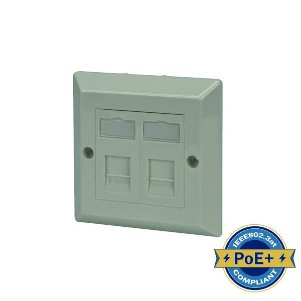 Cat6 Outlet Bevelled Assembled Unshielded 2 x Euro 86 x 86mm White