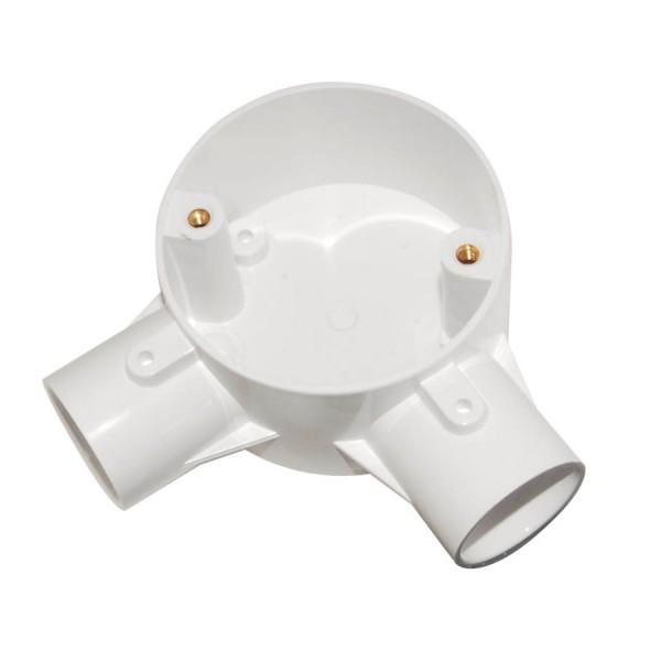 Conduit Angle Box Circular Junction No Lid PVC White (Dia) 25mm