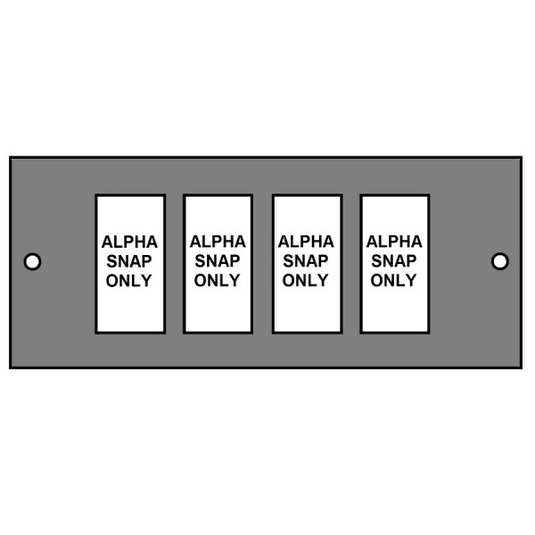 Floor Box Faceplate 4x Alpha Snap (1×4) (For 3 Way Compact) Grey (H) 76mm x (L) 185mm
