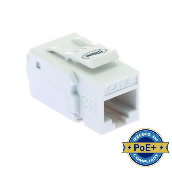 Cat6 Keystone Jack Unshielded 90 Deg Toolless HD White