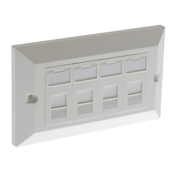 Cat5E Outlet Bevelled Assembled Unshielded 4 x Euro 86 x 146mm White