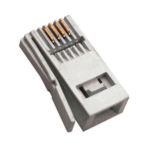 430A BT Style Plug 6 Position/4 Contact 4Way Voice Unshielded Flat L/H Latch White