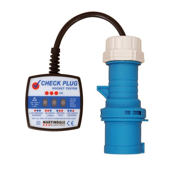 Check Plug Socket Tester 250V Industrial 16A Blue