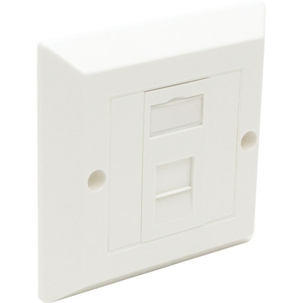 Cat6 Outlet Bevelled Assembled Unshielded 1 x Euro 86 x 86mm White
