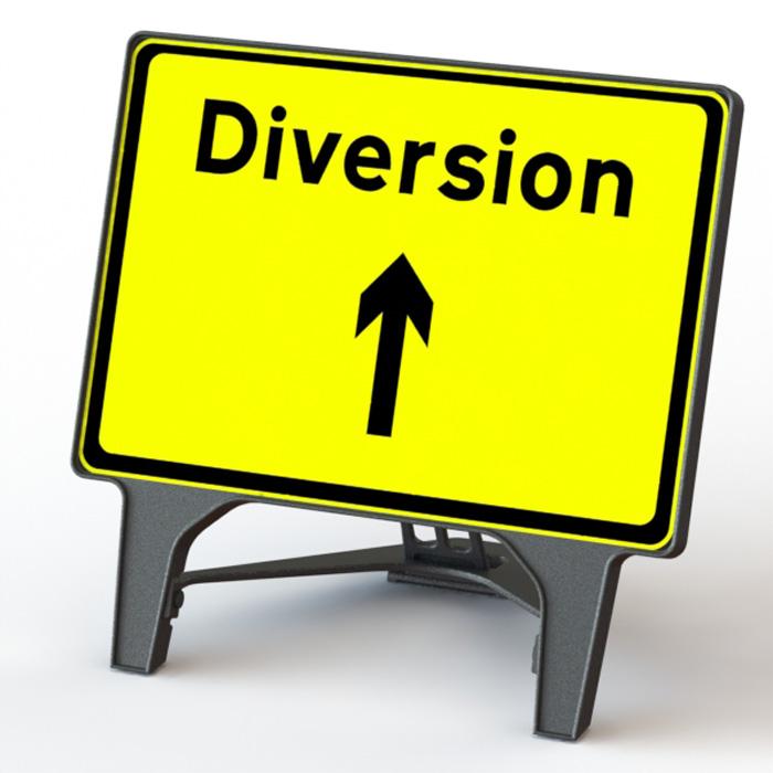 Q' Sign Diversion Ahead