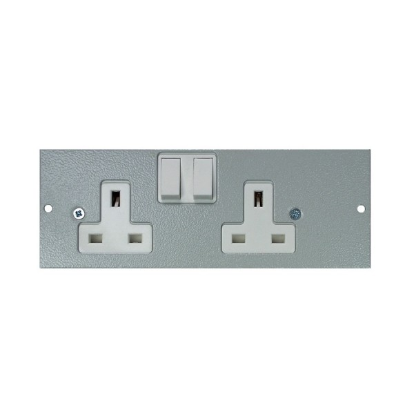 Floor Box Socket Plate Double Gang Left Handed Switched (For 4 Way) Grey (H) 68mm x (L) 185mm