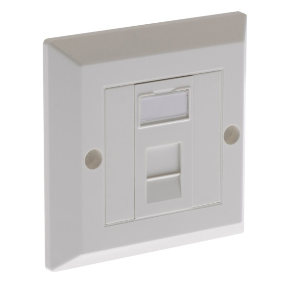 Cat5E Outlet Bevelled Assembled Unshielded 1 x Euro 86 x 86mm White