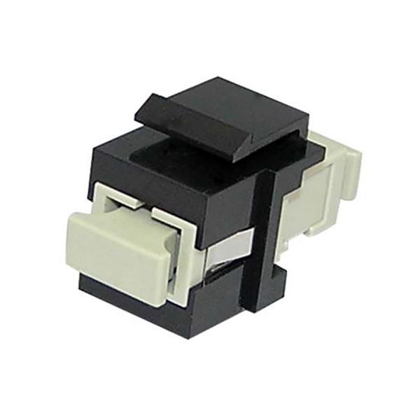Fibre Keystone Jack Black Body SC Simplex Multimode Beige Adaptor