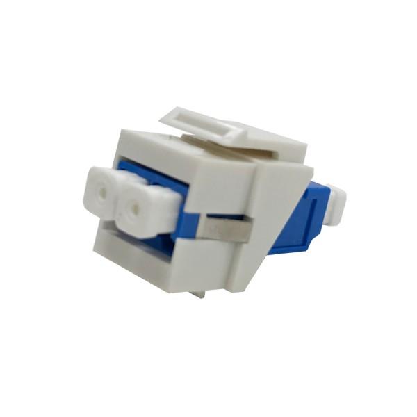 Fibre Keystone Jack White Body LC Duplex Singlemode Blue Adaptor