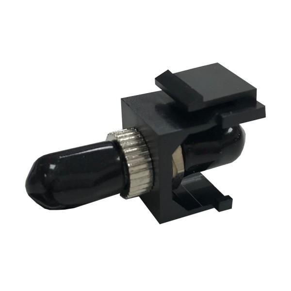 Fibre Keystone Jack Black Body ST Multimode Silver Adaptor