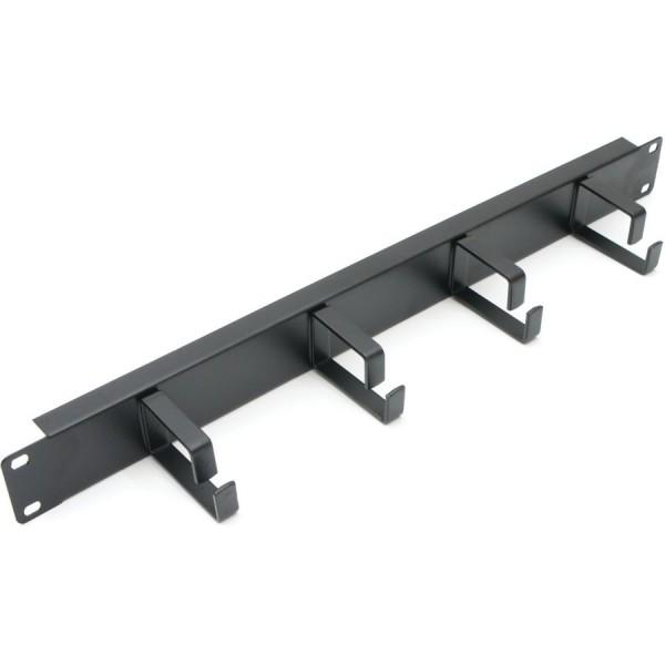 Cable Management Bar Vertical 4 Ring 1U Black 65mm