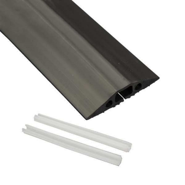 Floor Cable Cover Medium Duty Linkable 2x 13x12mm Cavity Black (W) 83mm x (L) 9m c/w 2 Connector Pins