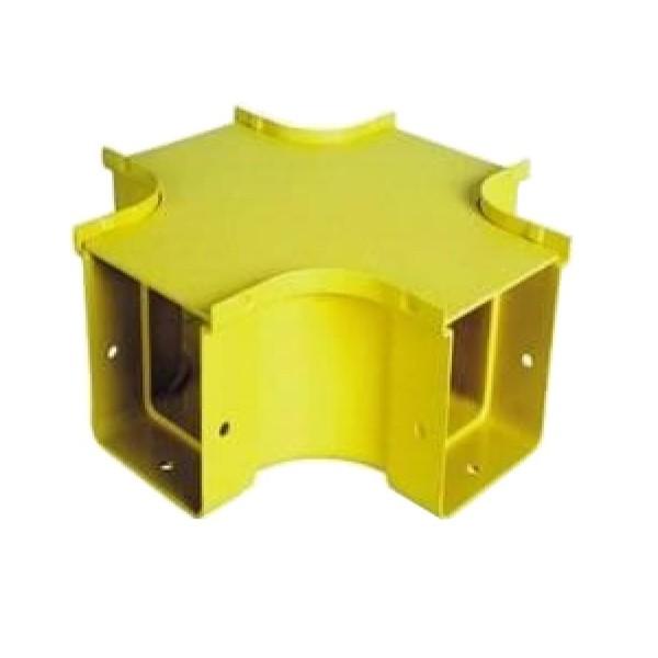 Fibre Ducting 4 Way Cross 50mm to 50mm Plastic LSZH Yellow
