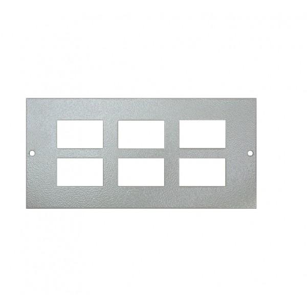 Floor Box Faceplate 6x LJ6C (For 3 Way Shallow & Deep) Grey (H) 89mm x (L) 185mm