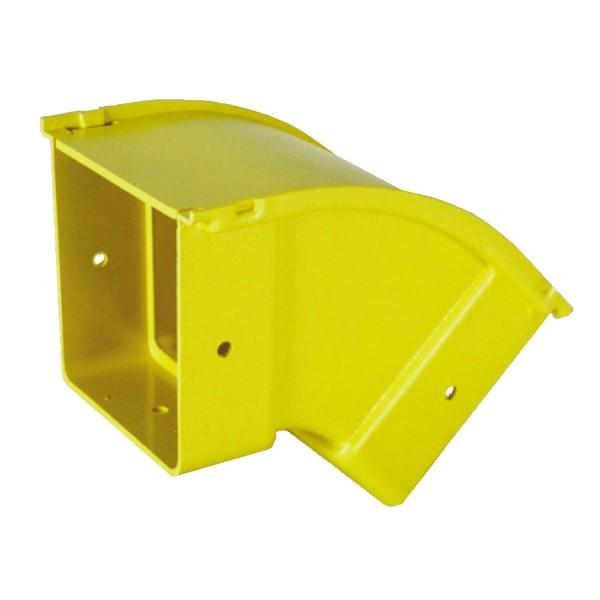 Fibre Ducting Vertical Outside (down) Bend Plastic LSZH 45 Degree c/w Lid Yellow (H) 50mm x (W) 50mm