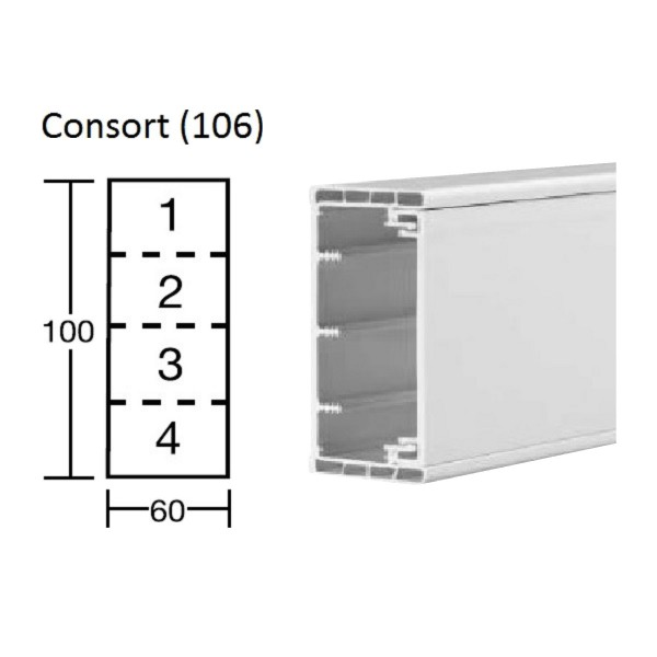 Dado Trunking Consort (106) White (H) 100mm x (D) 60mm x (L)3m