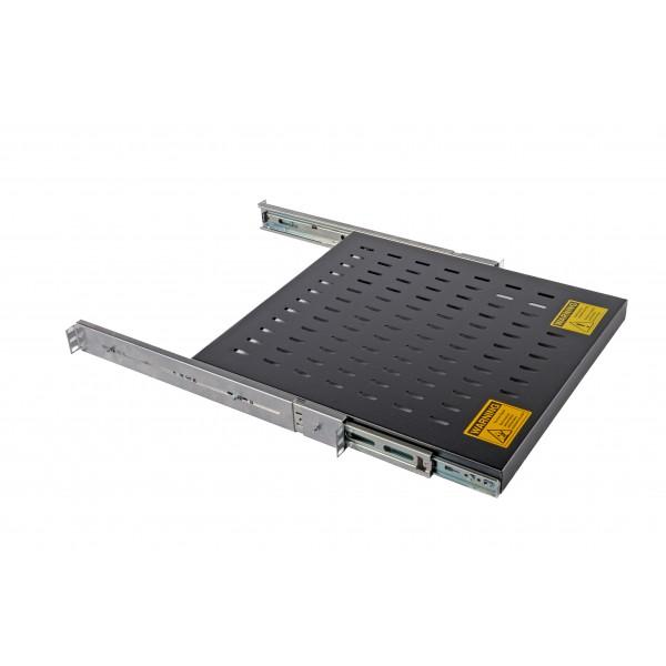 Sliding Shelf Vented Heavy Duty Up to 125kg Black (H) 1U x (W) 19″ x (D) 600mm Adjustable 600mm to 820mm