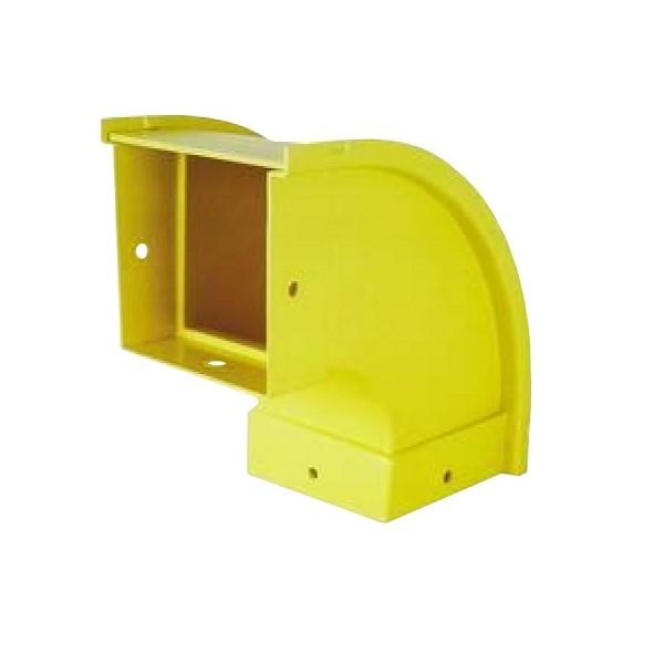 Fibre Ducting Vertical Outside (down) Bend Plastic LSZH 90 Degree c/w Lid Yellow (H) 50mm x (W) 50mm