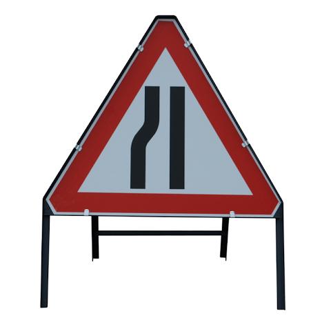 Sign Metal 750mm Road Narrows Left