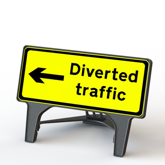 Q' Sign Diverted Traffic Left