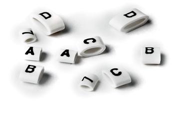 HO85 Oval Grip Letters Black on White A -Z