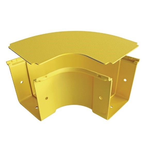 Fibre Ducting Horizontal Bend Plastic LSZH 90 Degree c/w Lid Yellow (H) 100mm x (W) 100mm