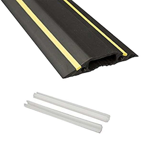 Floor Cable Cover Medium Duty Linkable 1x 30x10mm Cavity Black/Yellow (W) 83mm x (L) 9m c/w 2 Connector Pins