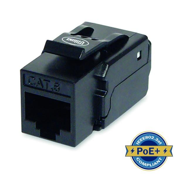 Cat6 Keystone Jack Unshielded 90 Deg Toolless HD Black