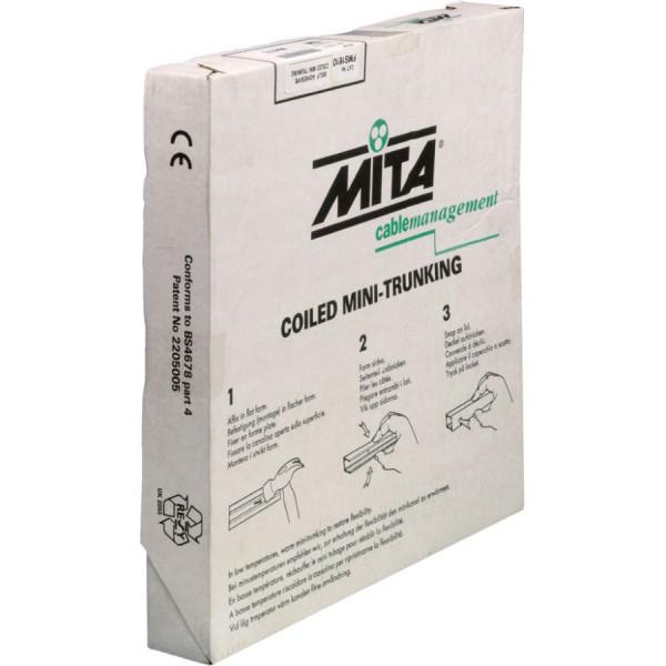 Trunking Mini Coiled Screw Fixing PVC White (H) 25mm x (D) 16mm x (L) 15m
