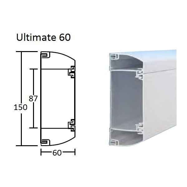 Dado Trunking Ultimate 60 White (H)150mm x (D)60mm x (L)3Mtr