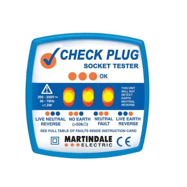 Check Plug Socket Tester 250V UK 3 Pin Blue