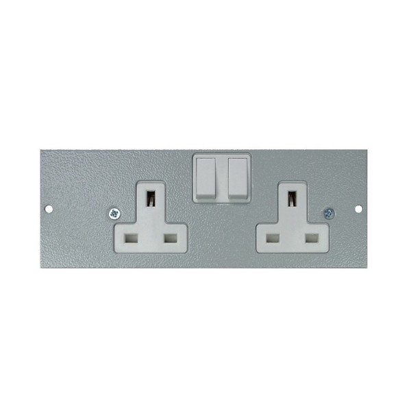 Floor Box Socket Plate Double Gang Right Handed Switched (For 4 Way) Grey (H) 68mm x (L) 185mm