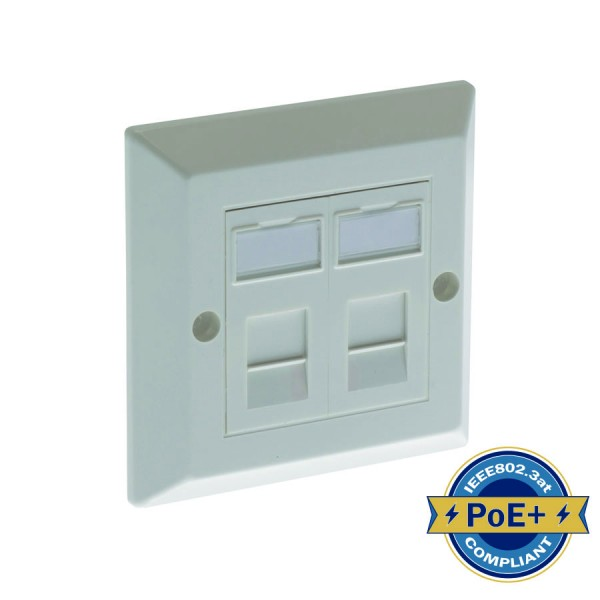 Cat5E Outlet Bevelled Assembled Unshielded 2 x Euro 86 x 86mm White