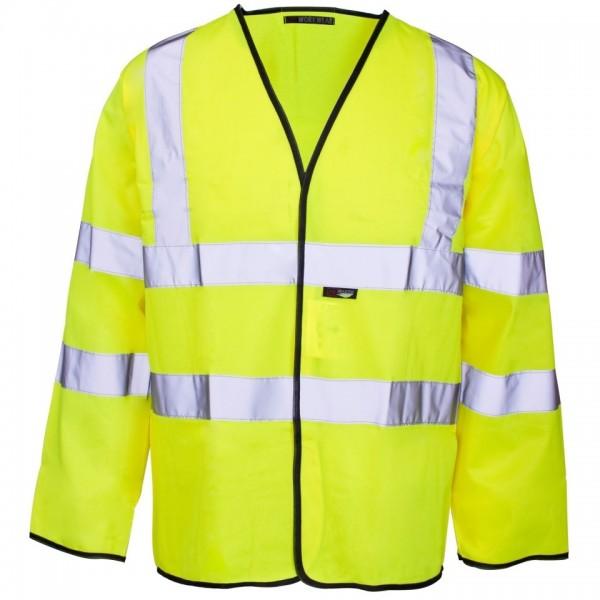 Hi-Viz Long Sleeve Waistcoat Black Binding Medium 100-104cm Yellow