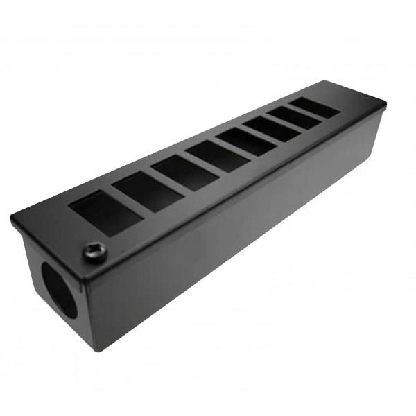 LJ6C Pod Box Horizontal 8 Port 1×8 Black (W) 60mm x (D) 55mm x (L) 305mm Entry Gland 32mm